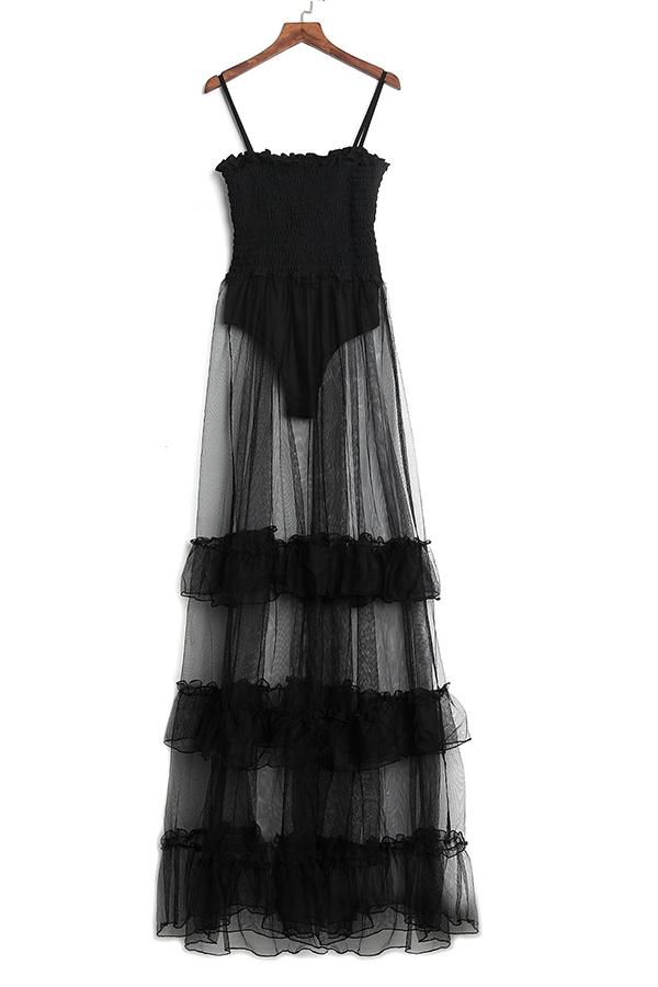 LovelyTrendy Spaghetti Strap Sleeveless See-Through Flounce Black Cotton Blend Floor Length Dress