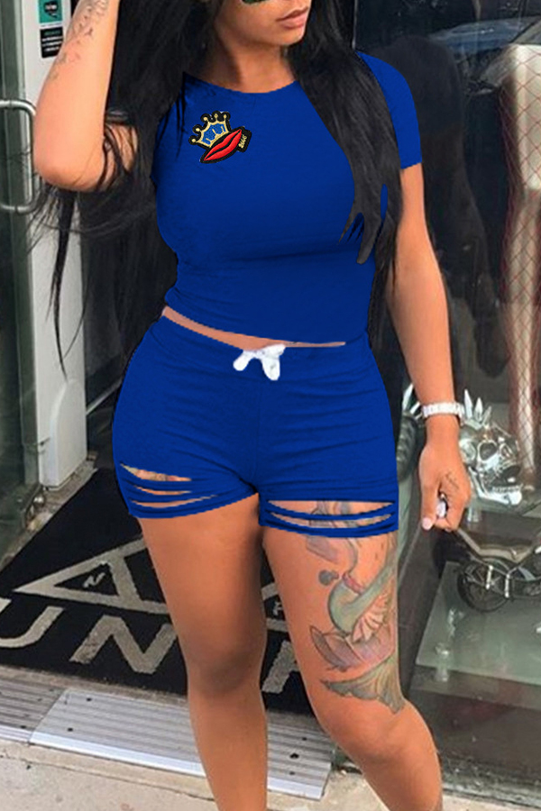 LovelyLeisure Round Neck Hollow-out Blue Blending Two-piece Shorts Set