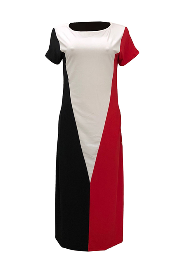 LovelyCasual Short Sleeves Patchwork Red Cotton Blend Floor Length Dress