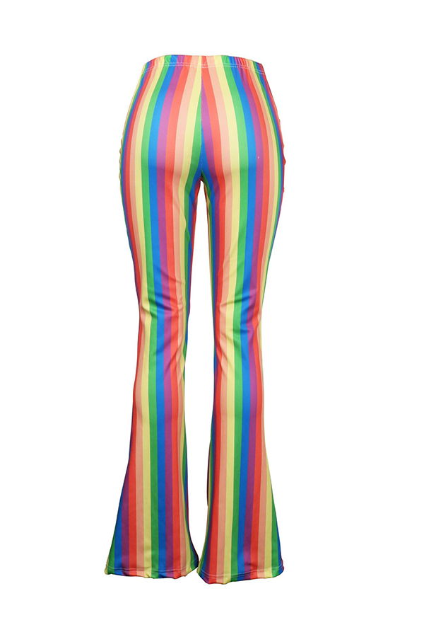 LovelyTrendy Hight Waist Colorful Striped Polyester Pants