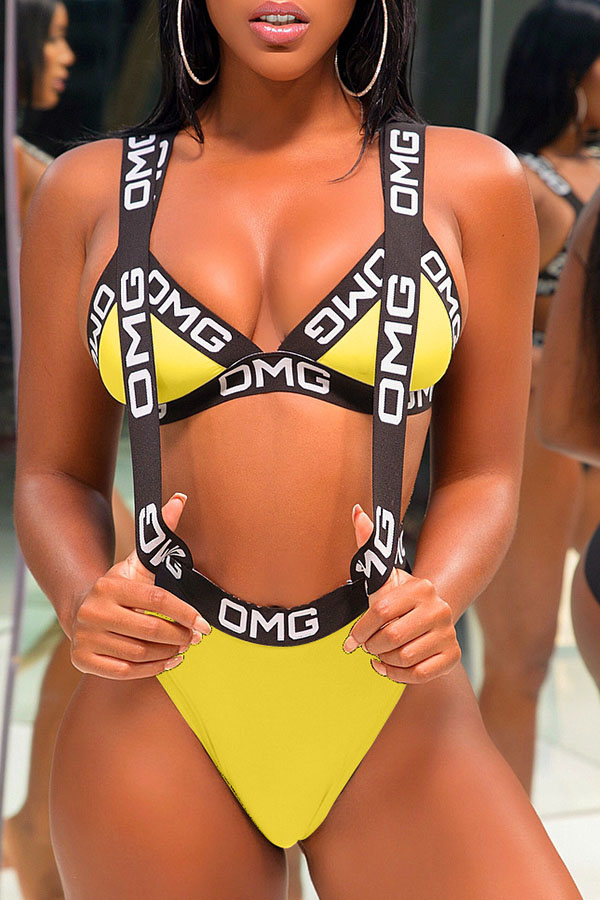 Lovely Casual Letter Printed Yellow Polyester Two-piece Swimwears