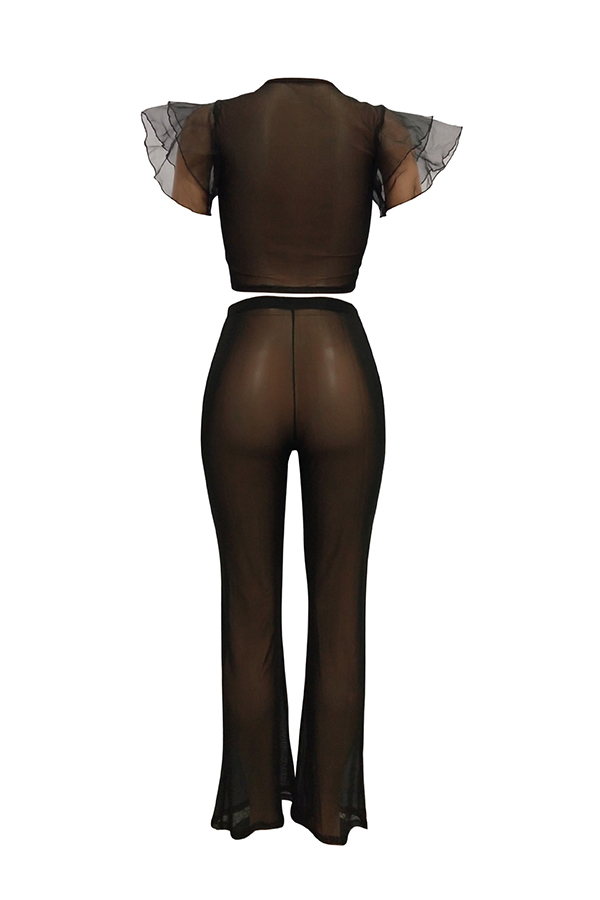 Lovely Fashion Round Neck See-Through Printing Black Polyester Two-piece Pants Set