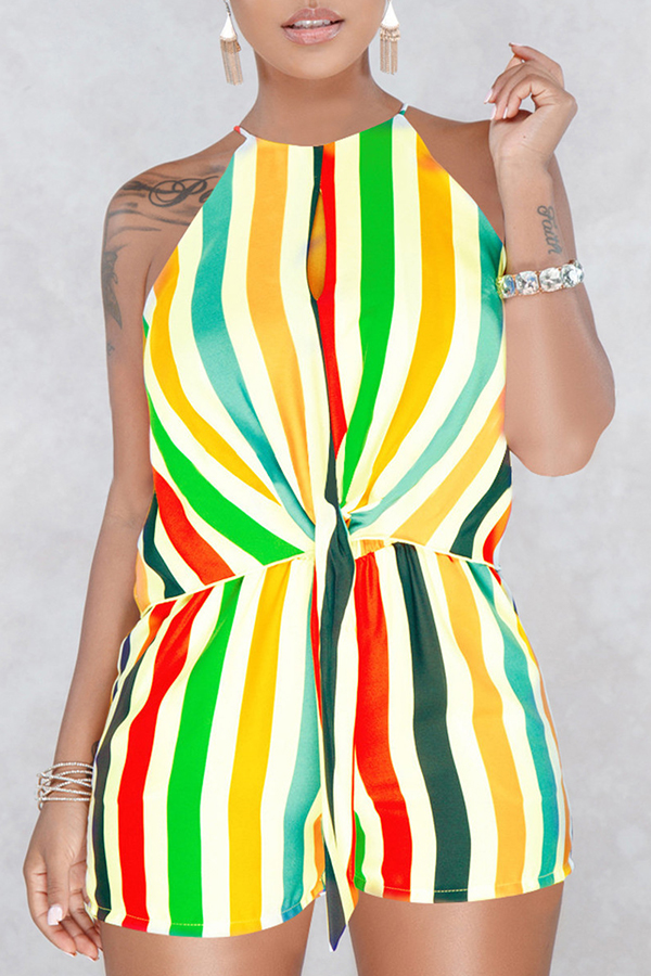 Lovely Fashion Round Neck Striped Yellow Blending One-piece Short Jumpsuits