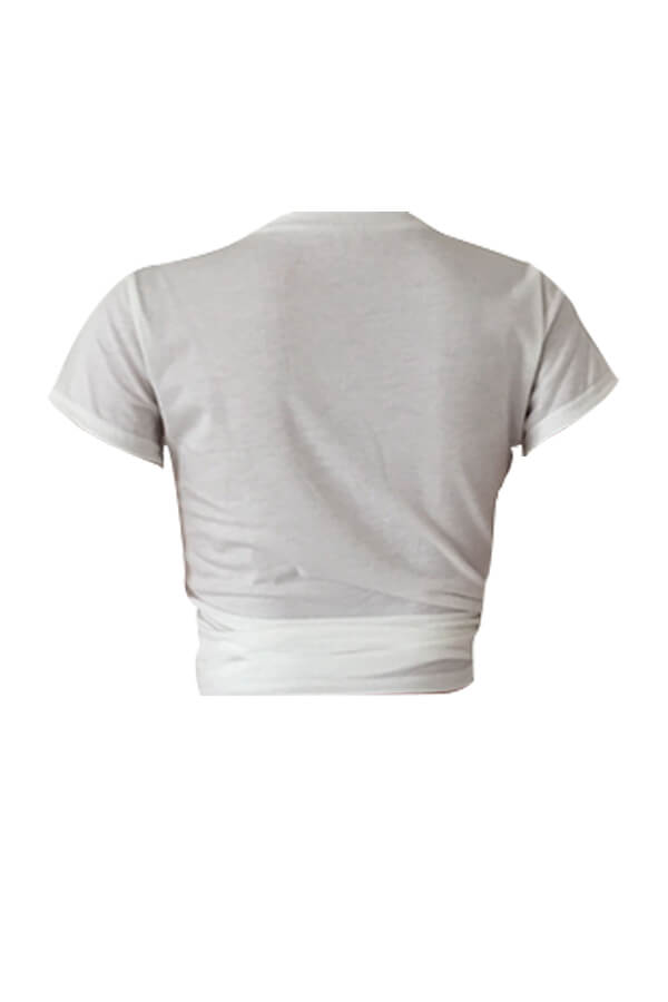 Camiseta De Poliéster Blanca Impresa De Dibujos Animados De Cuello Redondo Lovelycasual
