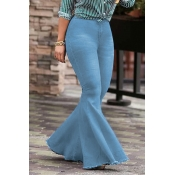 LovelyTrendy High Waist Flared Baby Blue Denim Zipped Jeans