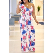 LovelyCotton Floral Straight Jumpsuits