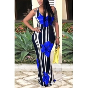 Lovely Casual U Neck Striped+Floral Printed Blue Blending Floor Length Dress