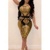 Lovely Sexy Round Neck Hollow-out Sequins Decoration Yellow Polyester Knee Length Dress
