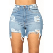 LovelyDenim Solid Zipper Fly High Regular Shorts