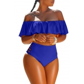 Lovely Pretty Bateau Neck Flounce Blue  Two-piece Swimwear