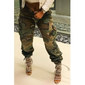 Lovely Casual High Waist Camouflage Printed Yellow Cotton Pants