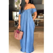 Lovely Casual Bateau Neck Baby Blue Denim Maxi Dre