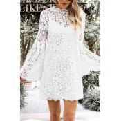 Lovely Fashion Mandarin Collar Hollow-out White La