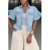 Lovely Trendy Turndown Collar Short Sleeves Single