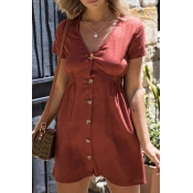 Lovely Fashion V Neck Short Sleeves Buttons Red Po