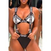 LovelyCasual Letter Printed Black Polyester Two-piece Swimwears