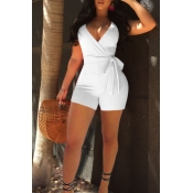 Lovely Sexy V Neck White Polyester One-piece Short