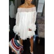 LovelyTrendy Dew Shoulder Falbala Design White Lace Mini Dress