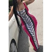 Lovely Stylish U Neck Striped Fold Rose Red Milk Fiber Floor Length Dress