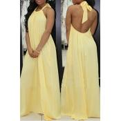Lovely Fashion Halter Neck Backless Yellow Chiffon Floor Length Dress