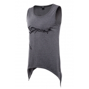 Lovely Casual Round Neck Printing Dark Grey Cotton