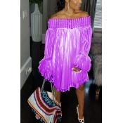 LovelyTrendy Dew Shoulder Falbala Design Purple Lace Mini Dress
