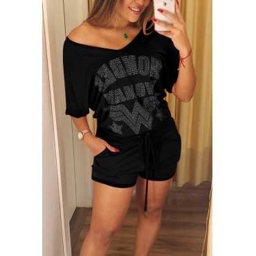 Lovely  Fashion V Neck Hot Drilling Decorative Black Cotton Blends Two-piece Shorts Set
