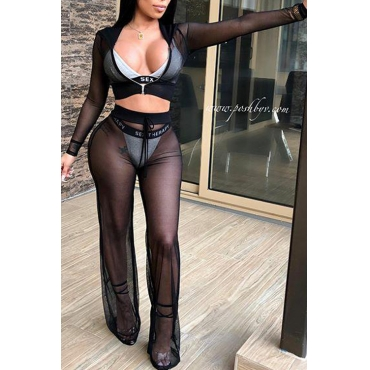 LovelySexy Hooded Collar See-Through Drawstring Black Polyester Two-Piece Pants Set(Without Subcoating)
