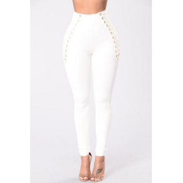 Lovely Polyester Solid Elastic Waist High Regular Pants Pants