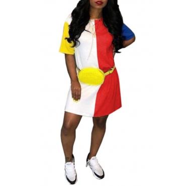LovelyLeisure Round Neck Patchwork Red Blending Mini Dress