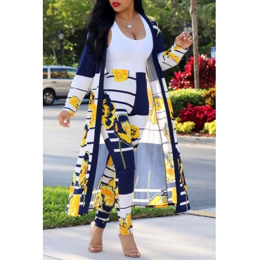 LovelyLeisure Striped+Floral Printed Yellow Polyester Two-piece Pants Set(Without Tank Top)