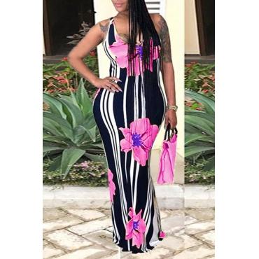 Lovely Casual U Neck Striped+Floral Printed Pink Blending Floor Length Dress