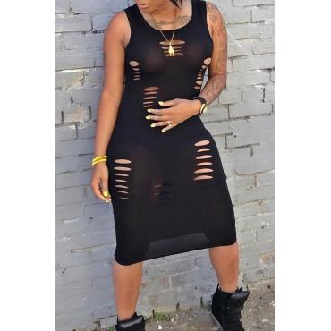 LovelyCasual Round Neck Broken Holes Black Polyester Sheath Mid Calf Dress