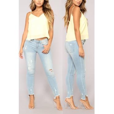 Lovely Fashion High Waist Broken Holes Light Blue Denim Pants