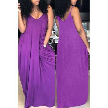 Lovely Casual V Neck Pocket Design Purple Blending Floor Length Dress