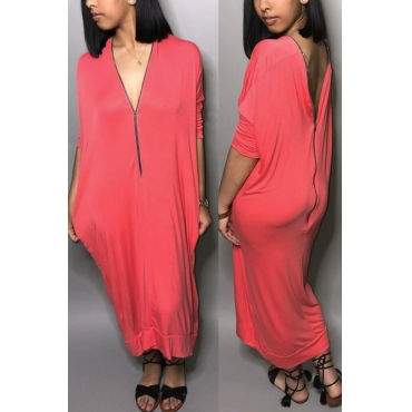 Lovely Casual V Neck Batwing Sleeves Zipper Design Pink Blending Mid Calf Dress