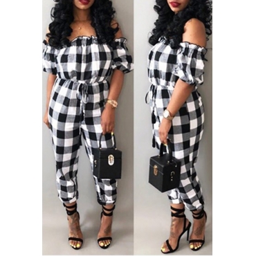 Lovely Leisure Bateau Neck Plaid Printed Drawstring White Polyester One-piece Jumpsuits