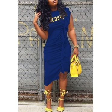 LovelyCasual Round Neck Letters Printed Ruffle Blue Cotton Knee Length Dress