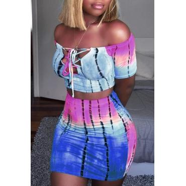 LovelySexy Bateau Neck Printing Blue Twilled Satin Two-piece Skirt Set