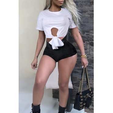 Lovely Chic Round Neck Irregular White Cotton Blends T-shirt
