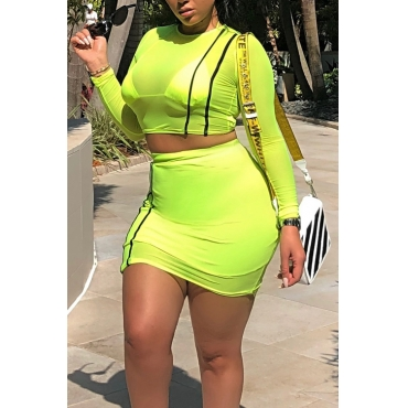 Lovely Sexy Yellow Polyester Two-piece Skirt Set