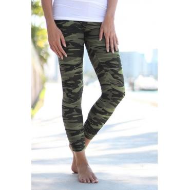 Lovely Fashion Mid Waist Camo Printed Modal Leggings