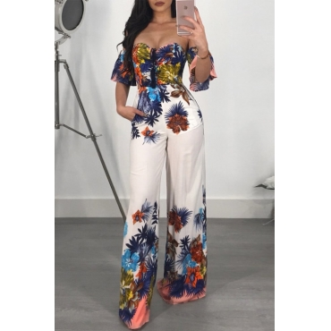 Lovely Charming Printed White Polyester One-piece Jumpsuit