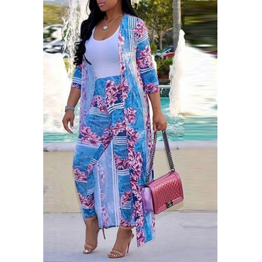 LovelyEuramerican Printed Blue Polyester Two-piece Pants Set
