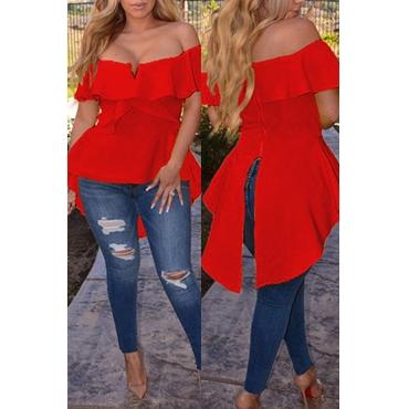 Camisa Encantadora De Calle Con Cuello Redondo Y Volantes De Mezcla Roja Irregular.