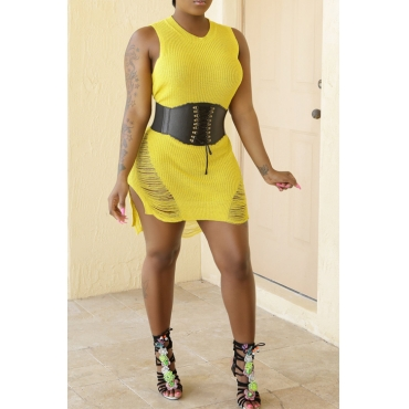 Lovely Casual Round Neck Broken Holes Yellow Blending Mini Dress(Without Belt)