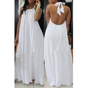 Lovely Fashion Halter Neck Backless White Chiffon Floor Length Dress