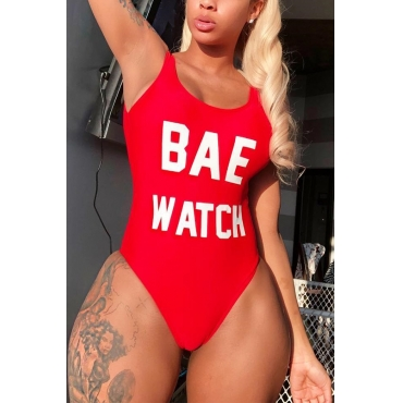 Lovely Chic U Neck Letter Printed Red Polyester One-piece Swimwears