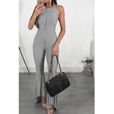 Lovely Casual Halter Neck Striped Black Polyester One-piece Jumpsuits