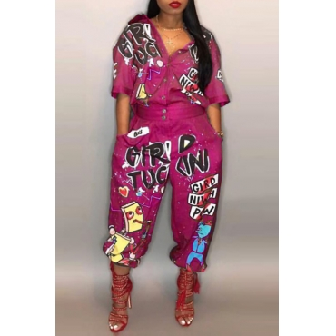 Lovely Euramerican Cartoon Printing Rose Red Polyester One-piece Jumpsuits